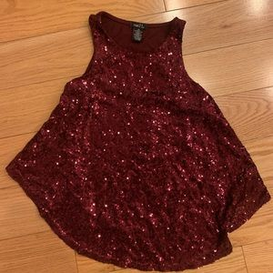 SEQUIN DRESSY TANK TOP Lined Crop Top DARK RED